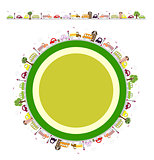 Cartoon round background with houses, trees, cars