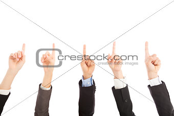 business people hands point upward together