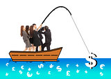 business team go fishing a big money from worldwide market