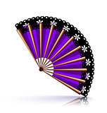 purple fan with black lace