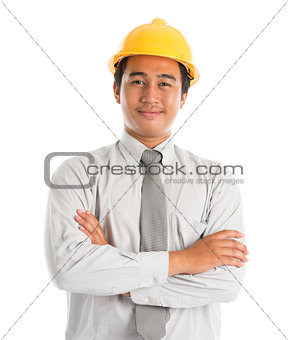 Asian male wearing yellow hardhat.