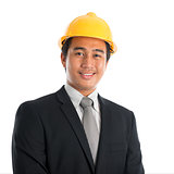 Asian man wearing yellow hardhat.