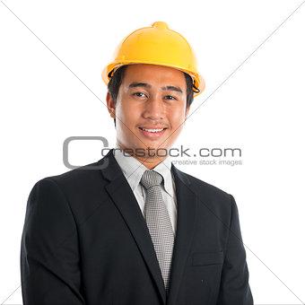 Asian man wearing yellow hardhat.