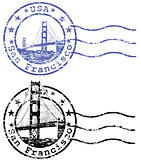 Shabby stamp with cityscape of San Francisco and Golden Gate