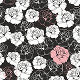 Tile vector floral pattern with white and pink roses on black background