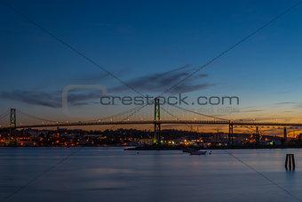 Angus L. Macdonald Bridge that connects Halifax to Dartmouth