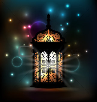 Arabic lantern with ornamental Pattern for Ramadan Kareem