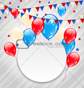 Celebration card with balloons in american flag colors