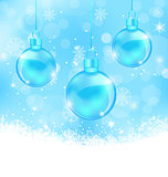 Winter background with Christmas balls and snowflakes