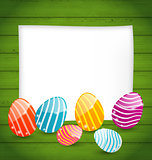 Paper card with Easter colorful eggs