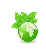 Global planet and eco green leaves isolated on white background