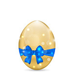 Easter paschal egg with blue bow, isolated on white background