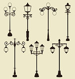 Set of vintage various ornamental streetlamps