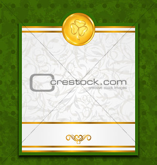 Celebration card with coin for St. Patrick's Day