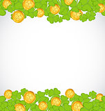 Greeting background with shamrocks and golden coins for St. Patr