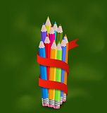 Set colorful pencils with ribbon