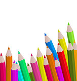Set colorful pencils on white background
