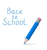 Back to school message with pencil on white background