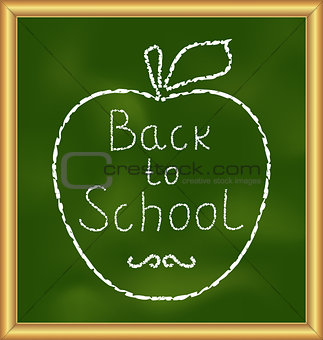 Back to school background with text and apple