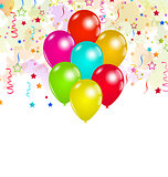 Set colorful balloons and confetti for your party