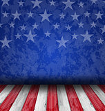 Empty wooden deck table over USA flag background