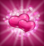 Valentine's shimmering background with beautiful hearts