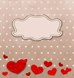 Vintage card with set crumpled paper hearts