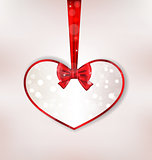 Card heart shaped with silk bow for Valentine Day