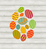 Easter ornamental eggs on wooden background