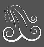 Outline girl curly hair cut out 3d