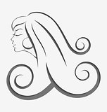 Outline girl curly hair cut out