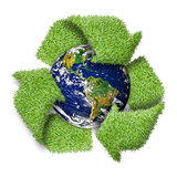 "Recycle logo symbol from the green grass and earth. ""Elements of"