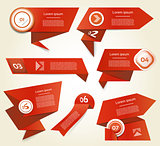 Set of red vector progress, version, step icons. eps 10