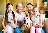 Family with labrador