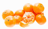 Peeled Mandarin Tangerine Orange Fruit Isolated On White Backgro