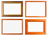 Vintage photo frame isolated on white background. Set, collage.