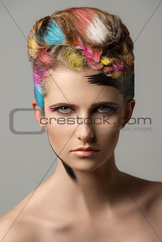 charming girl in creative beauty style