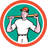 Baseball Player Holding Bat Cartoon