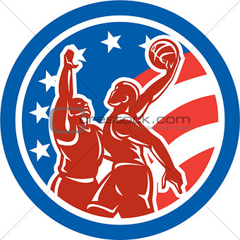 American Basketball Player Dunk Block Circle Retro