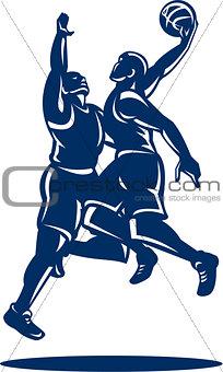 Basketball Player Dunk Block Retro