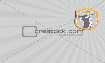 Business card Carpenter Carry Lumber Shield Retro