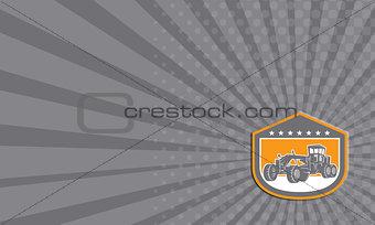 Business card Road Grader Shield Retro