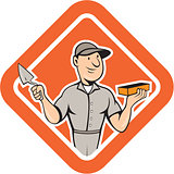 Bricklayer Mason Plasterer Standing Shield Cartoon