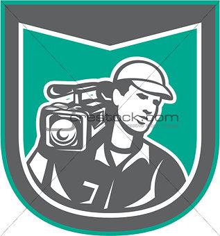 Cameraman Film Crew HD Camera Video Shield Retro