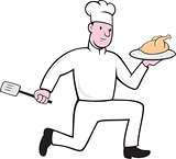Chef With Chicken Spatula Running Cartoon