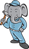 Elephant Builder Holding Hammer Cartoon