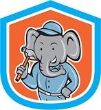 Elephant Builder Holding Hammer Crest Cartoon