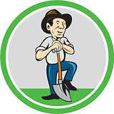 Farmer Shovel Standing Cartoon