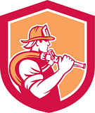 Fireman Firefighter Holding Fire Hose Shoulder Shield
