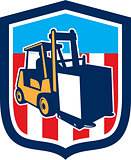 Forklift Truck Materials Logistics Shield Retro